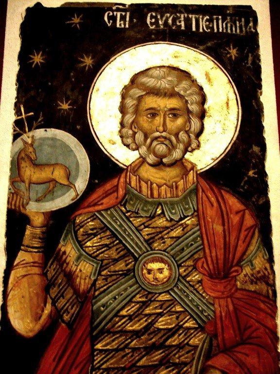Святой Великомученик Евстафий Плакида. Фреска из монастыря Куртя де Арджеш, Румыния. 1526 год. Иконописец Добромир.