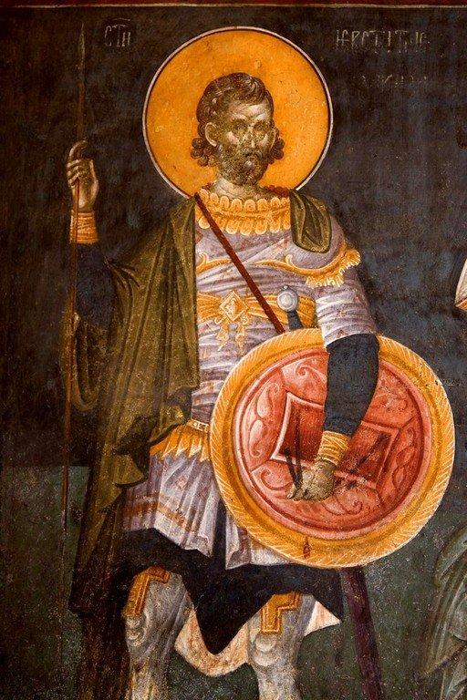 Святой Великомученик Евстафий Плакида. Фреска монастыря Грачаница, Косово, Сербия. Около 1320 года.