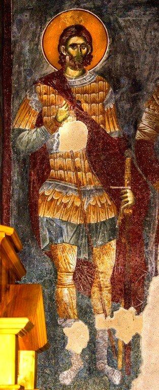 """Святой Великомученик Евстафий Плакида. Фреска церкви Вознесения Господня (""""Спасов дом"""") в монастыре Жича, Сербия. 1309 - 1316 годы."""