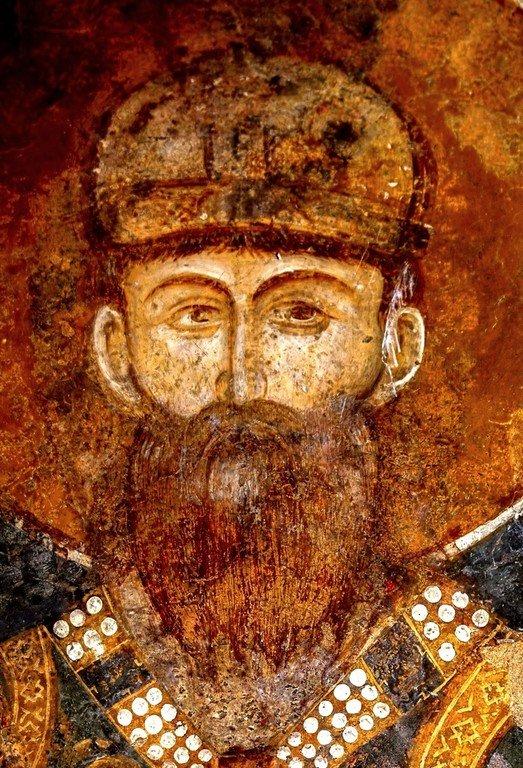 Святой Краль Стефан Первовенчанный. Фреска церкви Богородицы Левишки в Призрене, Косово, Сербия. 1310 - 1313 годы.