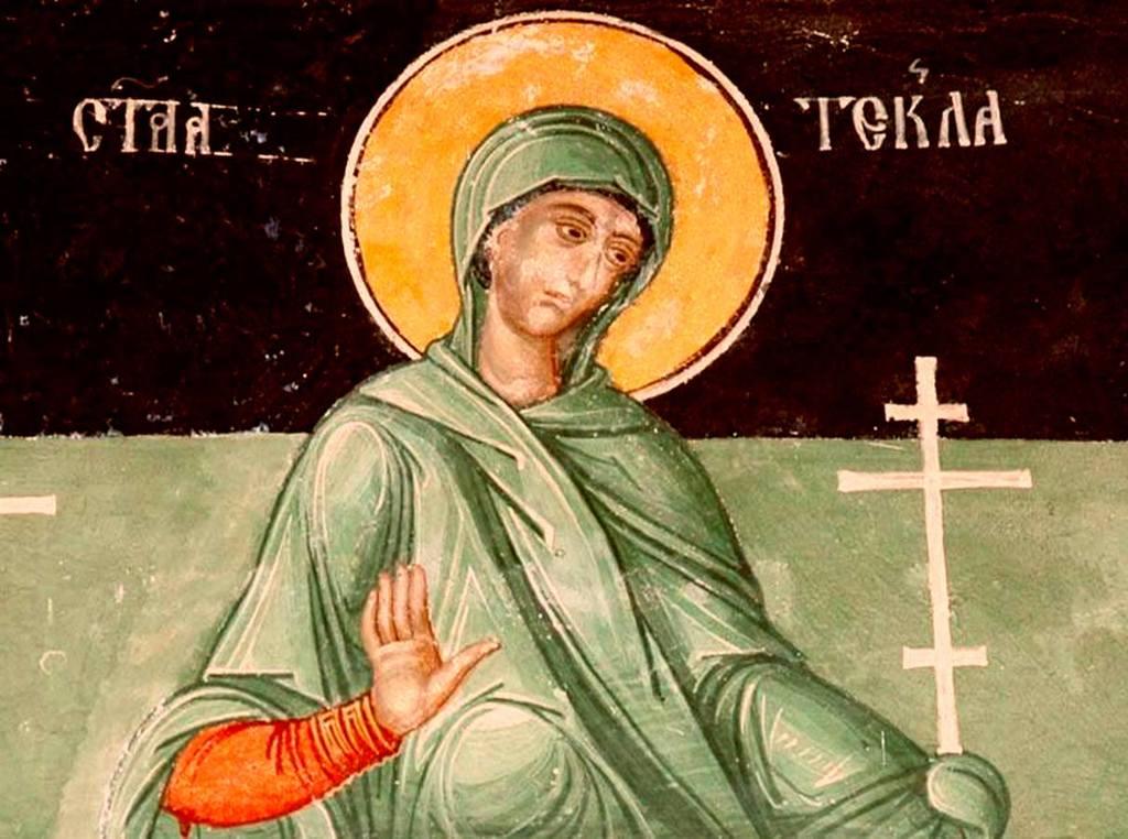 Святая Первомученица Равноапостольная Фекла. Фреска монастыря Пива, Черногория.