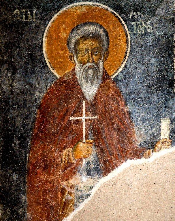 Святой Преподобный Харитон Исповедник. Фреска церкви Святой Троицы в монастыре Сопочаны, Сербия. XIII век.