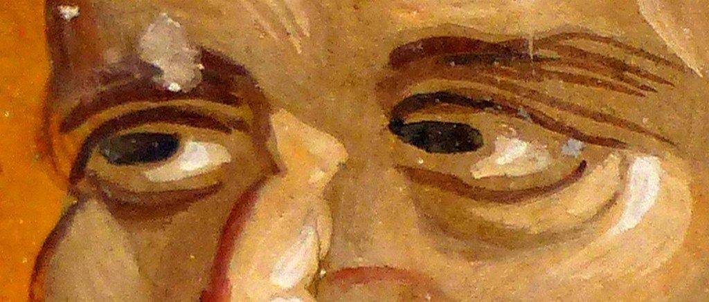 Святой Преподобный Харитон Исповедник. Фреска церкви Святого Георгия в Старо Нагоричино, Македония. 1316 - 1318 годы. Иконописцы Михаил Астрапа и Евтихий.
