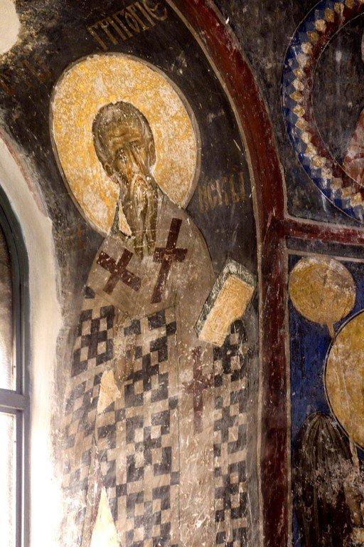 Священномученик Григорий, Просветитель Армении. Фреска церкви Святой Троицы в монастыре Манасия (Ресава), Сербия. До 1418 года.