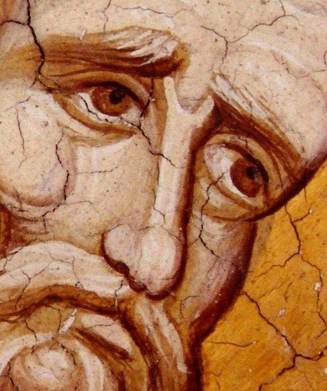 Священномученик Дионисий Ареопагит. Фреска монастыря Высокие Дечаны, Косово, Сербия. Около 1350 года.