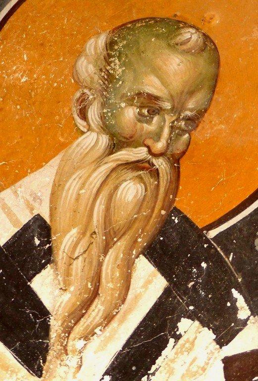 Священномученик Дионисий Ареопагит. Фреска церкви Святых Иоакима и Анны (Королевской церкви) в монастыре Студеница, Сербия. 1314 год.