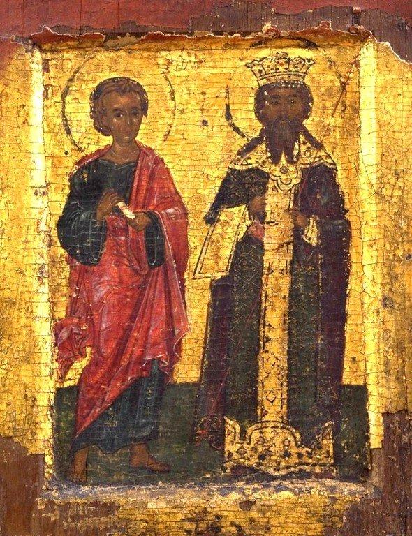 Святой Апостол Фома и Янинский деспот (титул правителя) Тома (Фома) Прелюбович (?). Икона. Около 1375 года. Сербский монастырь Хиландар на Афоне.