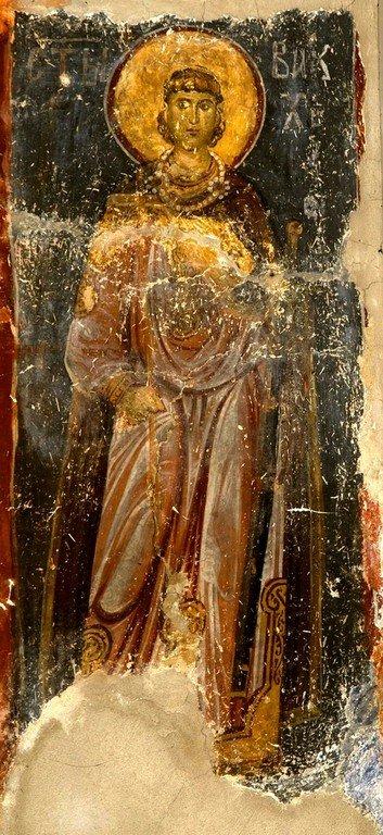 Святой Мученик Вакх Римлянин. Фреска церкви Богородицы в монастыре Студеница, Сербия. 1208 - 1209 годы.