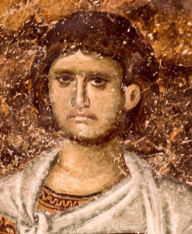 Святой Мученик Сергий Римлянин. Фреска церкви Святой Троицы в монастыре Сопочаны, Сербия. 1265 год.