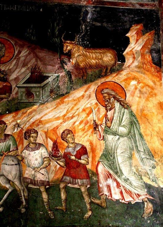 Жертвоприношение Авраама. Фреска монастыря Грачаница, Косово, Сербия. Около 1320 года. Фрагмент.