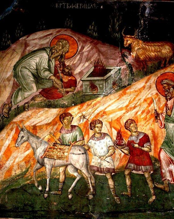 Жертвоприношение Авраама. Фреска монастыря Грачаница, Косово, Сербия. Около 1320 года.