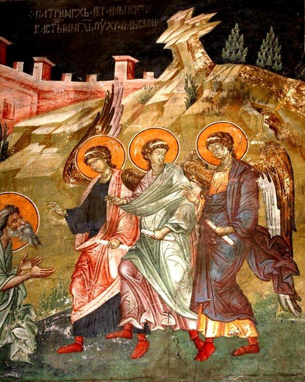 Гостеприимство Авраама. Фреска монастыря Грачаница, Косово, Сербия. Около 1320 года. Фрагмент.