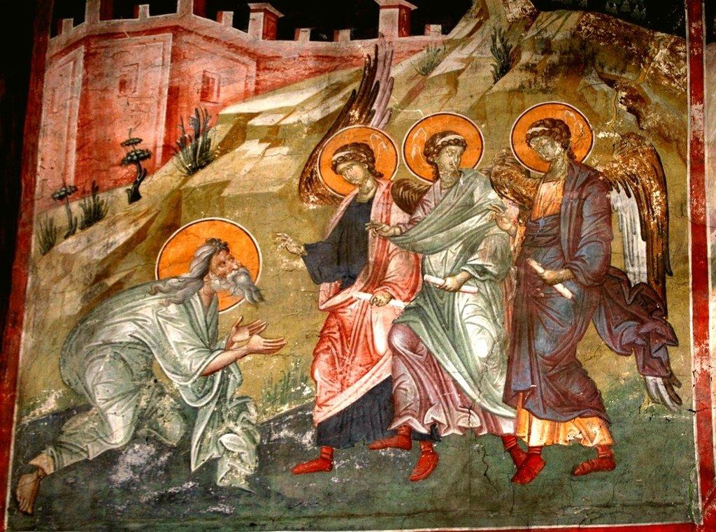 Гостеприимство Авраама. Фреска монастыря Грачаница, Косово, Сербия. Около 1320 года.
