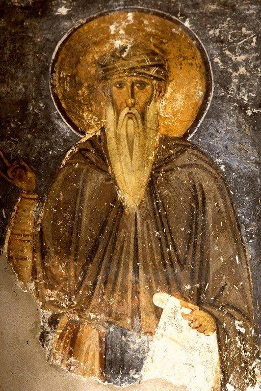 Святой Преподобный Феофан Начертанный. Фреска церкви Богородицы в монастыре Студеница, Сербия. 1208 - 1209 годы.
