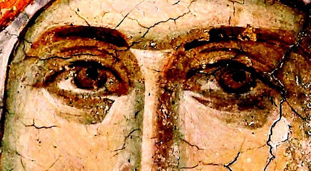 Лик Пресвятой Богородицы. Фреска монастыря Грачаница, Косово, Сербия. Около 1320 года.