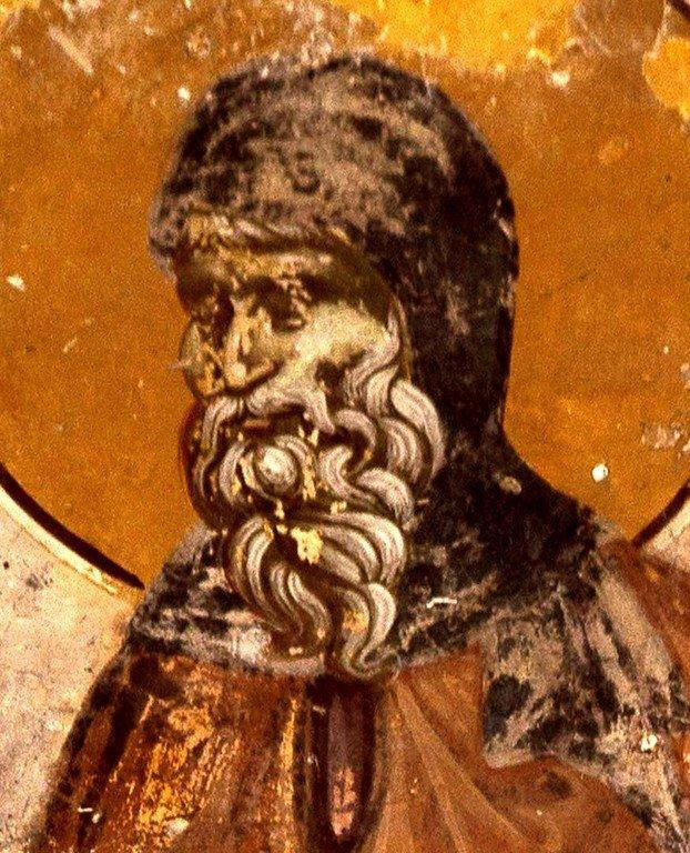 Святой Преподобный Косма, Епископ Маиумский, творец канонов. Фреска церкви Святых Иоакима и Анны в монастыре Студеница, Сербия. 1314 год.