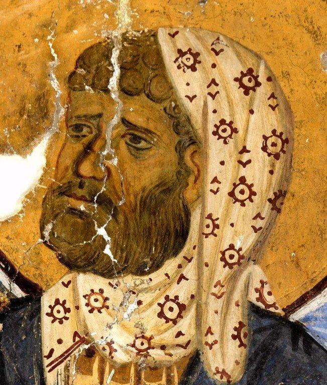 Святой Мученик Лонгин Сотник. Фреска церкви Богородицы в монастыре Студеница, Сербия. 1208 - 1209 годы.