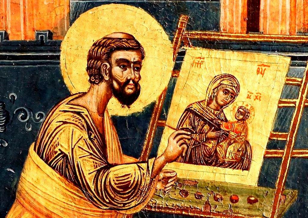 Святой Апостол и Евангелист Лука пишет икону Божией Матери. Сербская икона. Фрагмент.