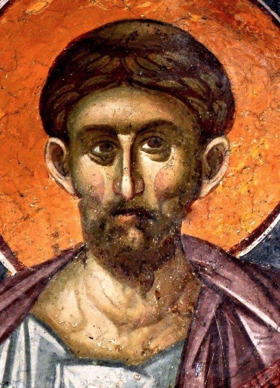 Святой Апостол и Евангелист Лука. Фреска монастыря Грачаница, Косово, Сербия. Около 1320 года.