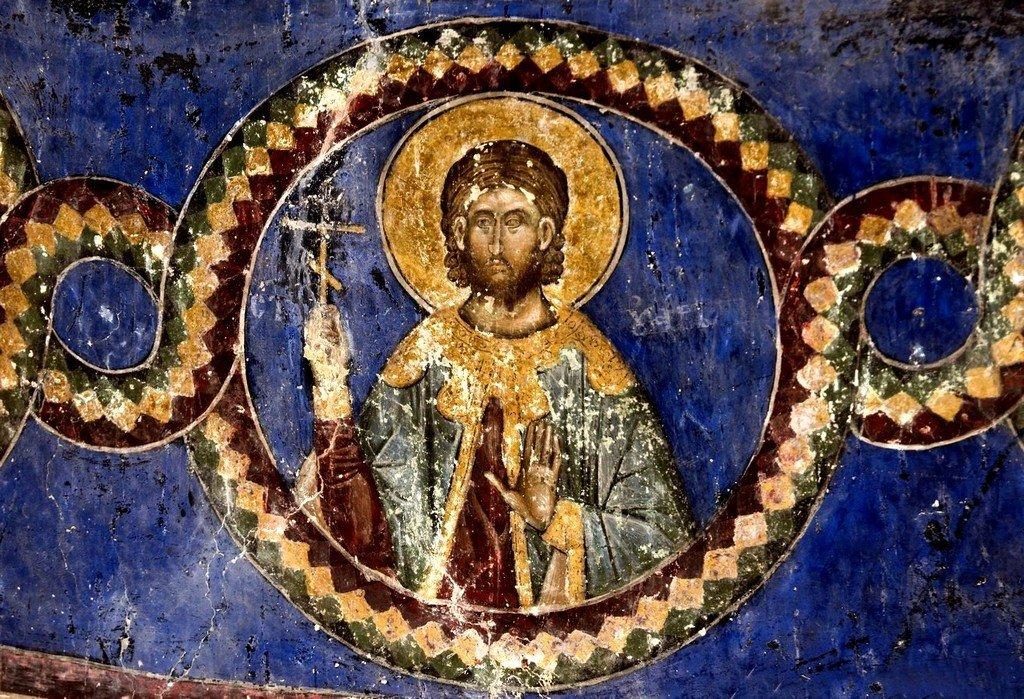 Святой Мученик Уар Египетский. Фреска церкви Святой Троицы в монастыре Манасия (Ресава), Сербия. До 1418 года.