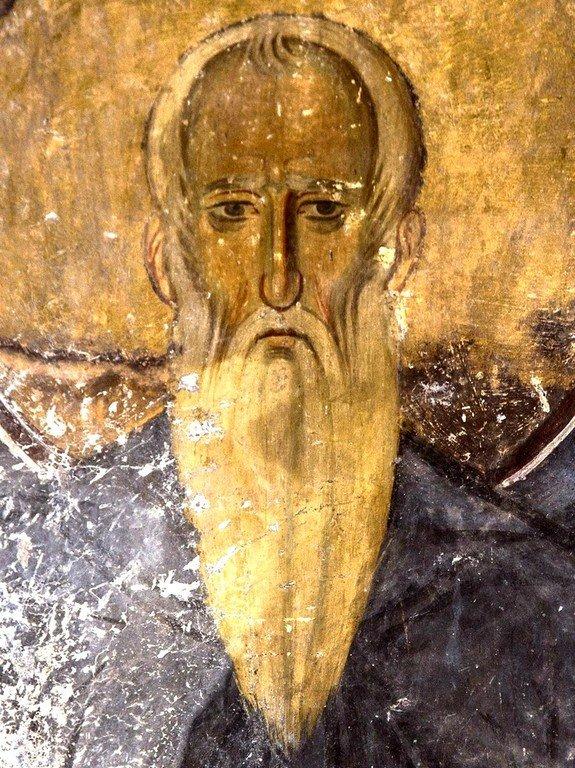 Святой Преподобный Иларион Великий. Фреска церкви Богородицы в монастыре Студеница, Сербия. 1208 - 1209 годы.