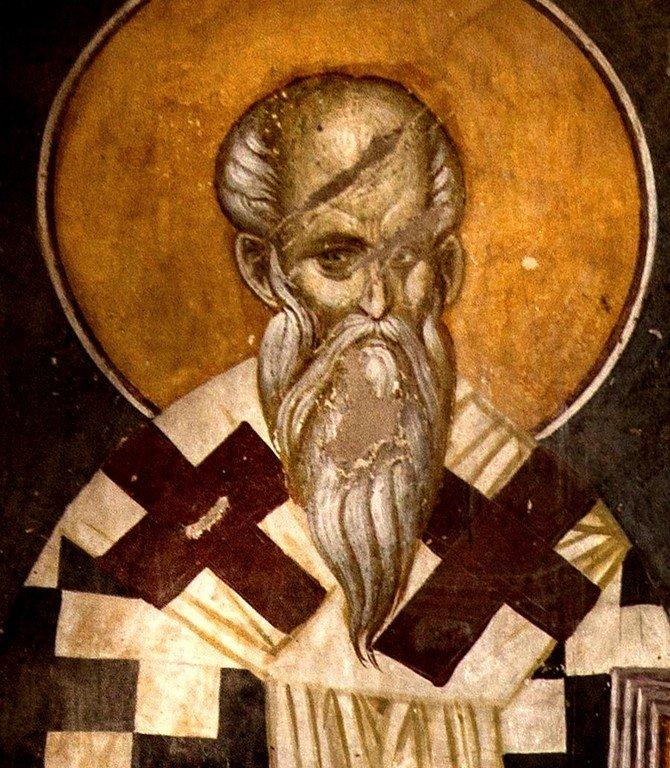 Святой Равноапостольный Аверкий, Епископ Иерапольский, Чудотворец. Фреска монастыря Грачаница, Косово, Сербия. Около 1320 года.
