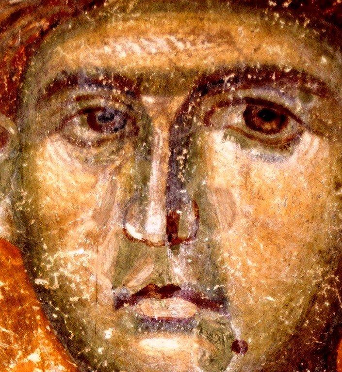 """Святой Великомученик Димитрий Солунский. Фреска церкви Вознесения Господня (""""Спасов дом"""") в монастыре Жича, Сербия. 1309 - 1316 годы."""