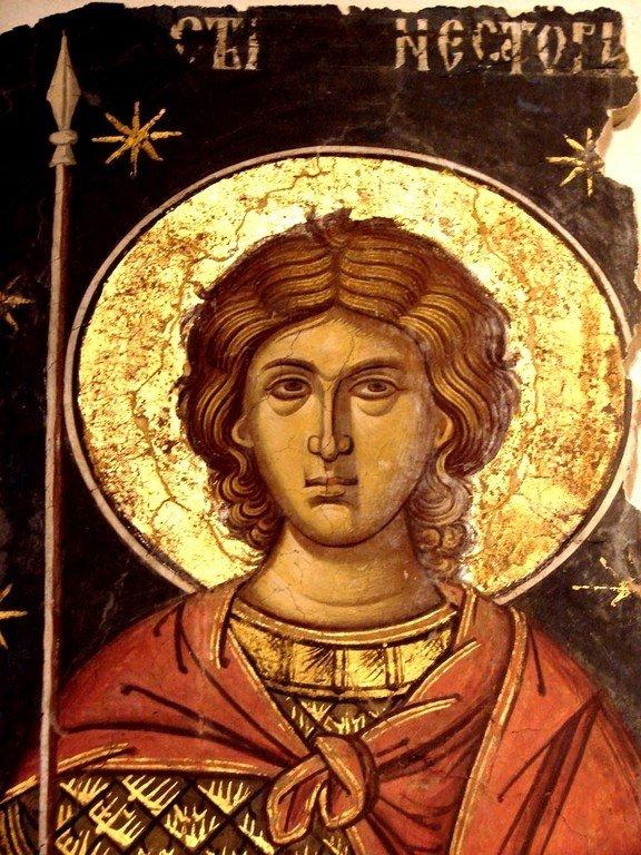 Святой Мученик Нестор Солунский. Фреска из монастыря Куртя де Арджеш, Румыния. 1526 год. Иконописец Добромир.