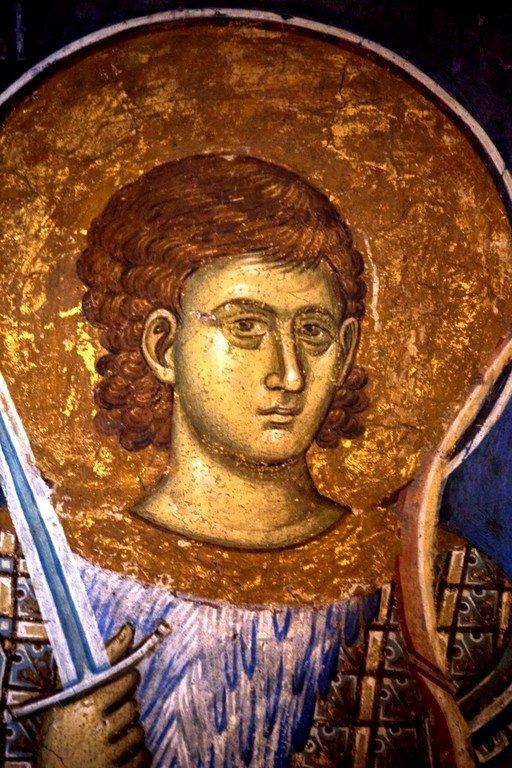 Святой Мученик Нестор Солунский. Фреска монастыря Высокие Дечаны, Косово, Сербия. Около 1350 года.