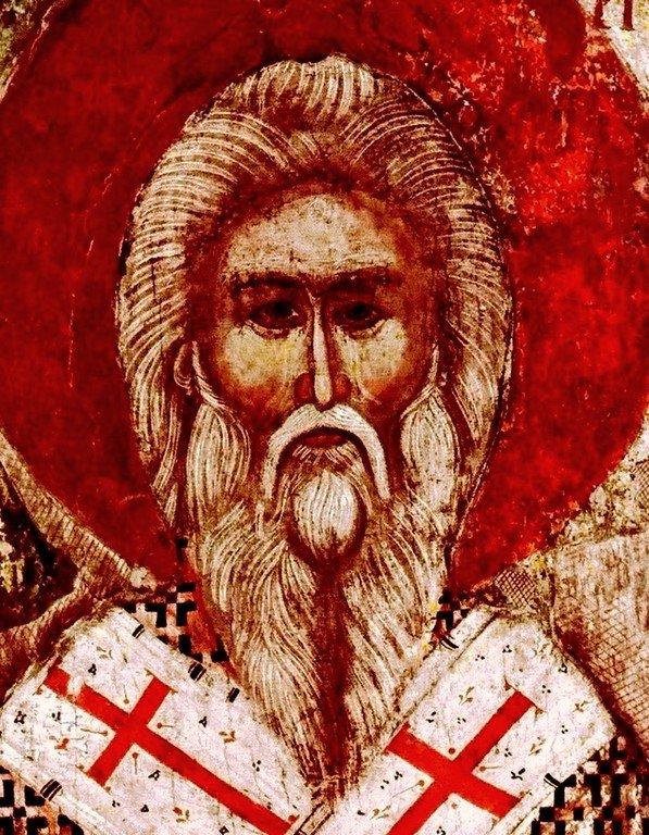 Святитель Арсений Сремец, Архиепископ Сербский. Икона XIV века в Рыльском монастыре, Болгария. Лик.