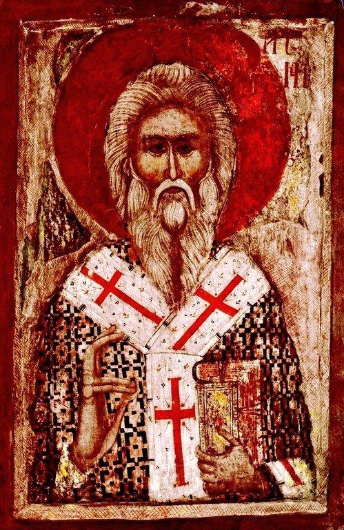Святитель Арсений Сремец, Архиепископ Сербский. Икона XIV века в Рыльском монастыре, Болгария.