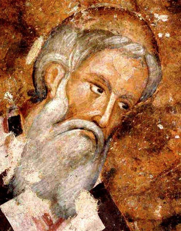 Святитель Арсений Сремец, Архиепископ Сербский. Фреска церкви Святой Троицы в монастыре Сопочаны, Сербия. 1265 год.
