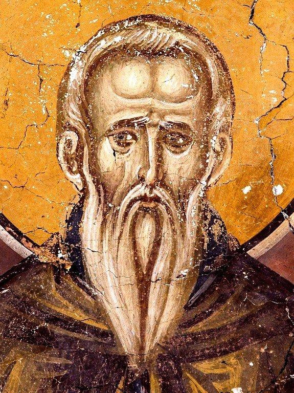 Святой Преподобный Авраамий Затворник, Хиданский. Фреска церкви Богородицы в монастыре Студеница, Сербия. 1568 год.