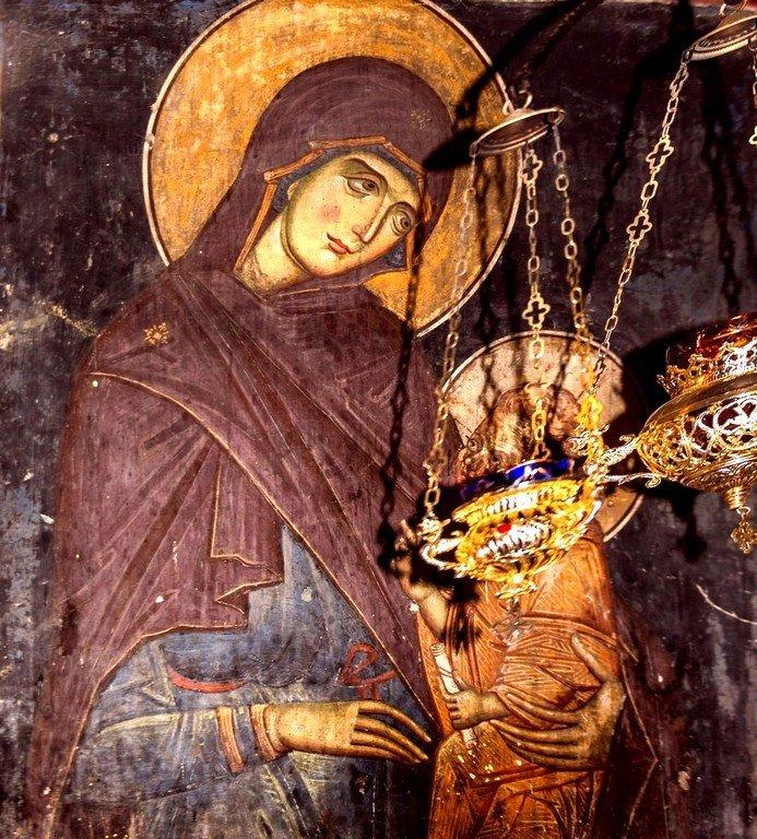 Пресвятая Богородица с Младенцем. Фреска церкви Архангела Михаила в Лесновском монастыре, Македония. XIV век.