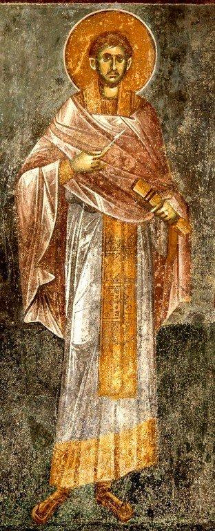 """Святой Бессребреник Косма (?). Фреска церкви Вознесения Господня (""""Спасов дом"""") в монастыре Жича, Сербия. 1309 - 1316 годы."""