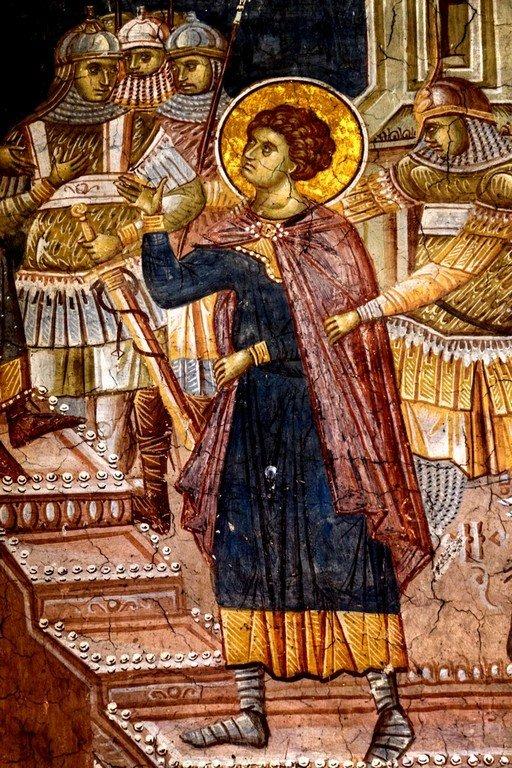 Святой Георгий перед Диоклетианом. Усекновение главы Святого Георгия. Фреска монастыря Высокие Дечаны, Косово, Сербия. Около 1350 года. Фрагмент.