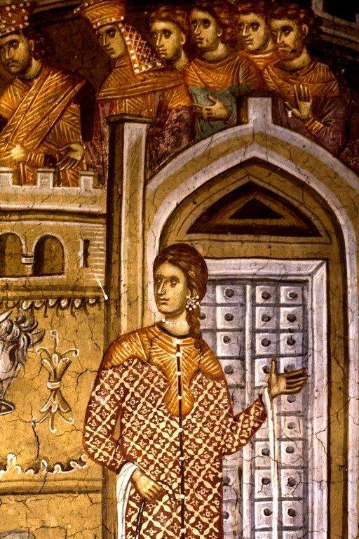 Святой Георгий молитвой сокрушает идолов. Чудо Святого Георгия о змие. Фреска монастыря Высокие Дечаны, Косово, Сербия. Около 1350 года. Фрагмент.