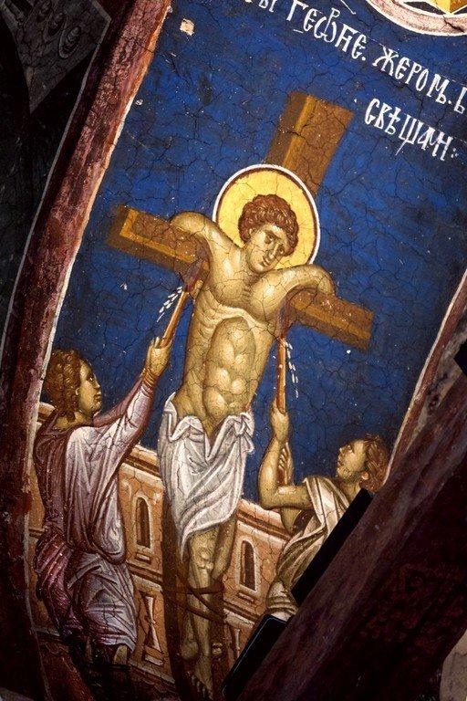 Мучение Святого Георгия горящими свечами. Фреска монастыря Высокие Дечаны, Косово, Сербия. Около 1350 года.