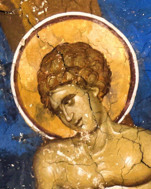 Бичевание Святого Георгия. Фреска монастыря Высокие Дечаны, Косово, Сербия. Около 1350 года. Фрагмент.