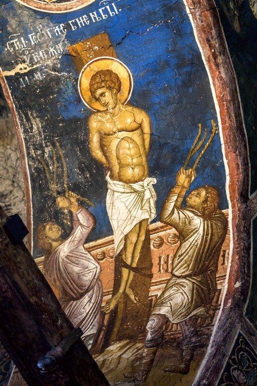Бичевание Святого Георгия. Фреска монастыря Высокие Дечаны, Косово, Сербия. Около 1350 года.