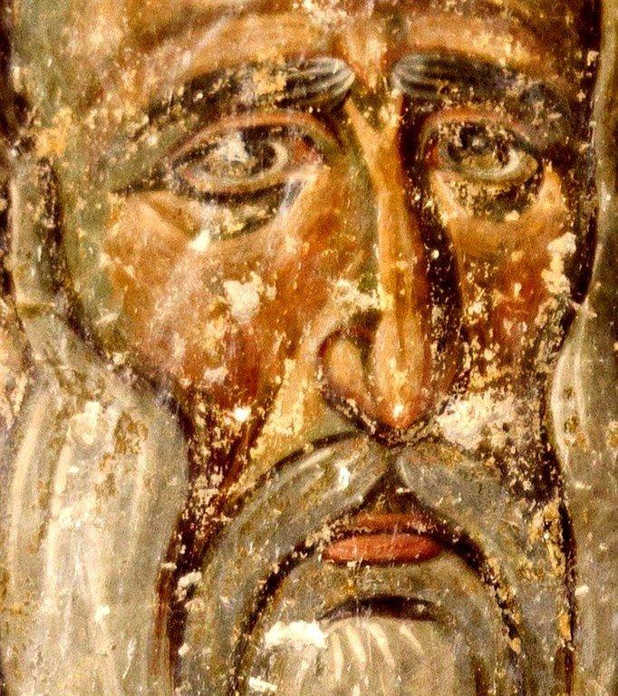 Святой Преподобный Иоанникий Великий. Фреска церкви Вознесения Господня в монастыре Милешева (Милешево), Сербия. XIII век.
