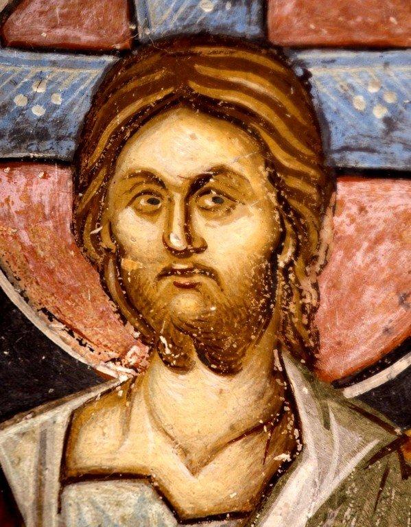 Лик Спасителя. Фреска церкви Святого Димитрия в Марковом монастыре близ Скопье, Македония. Около 1376 года.