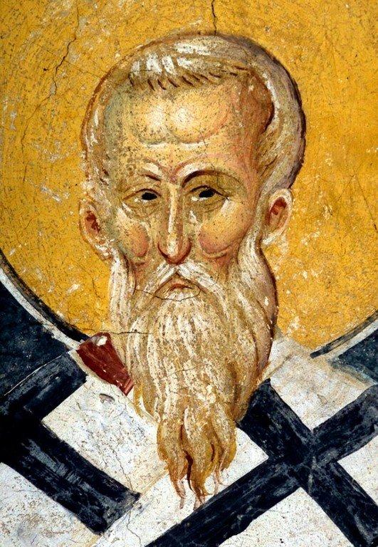 Святитель Павел Исповедник, Патриарх Константинопольский. Фреска монастыря Высокие Дечаны, Косово, Сербия. Около 1350 года.