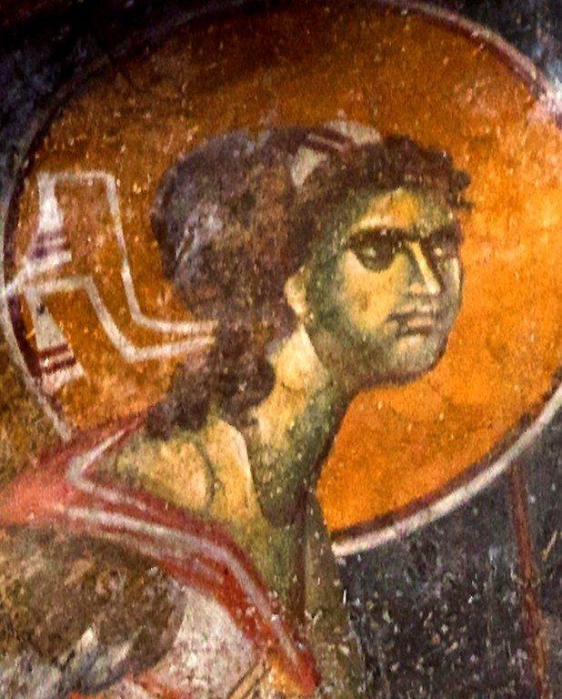"""Архангел Гавриил. Фреска церкви Вознесения Господня (""""Спасов дом"""") в монастыре Жича, Сербия. 1309 - 1316 годы."""
