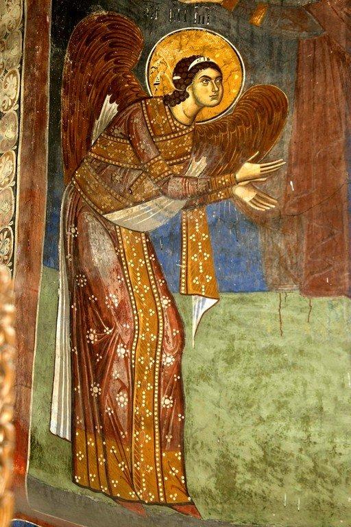 Архангел Михаил. Фреска церкви Святого Димитрия в Марковом монастыре близ Скопье, Македония. Около 1376 года.