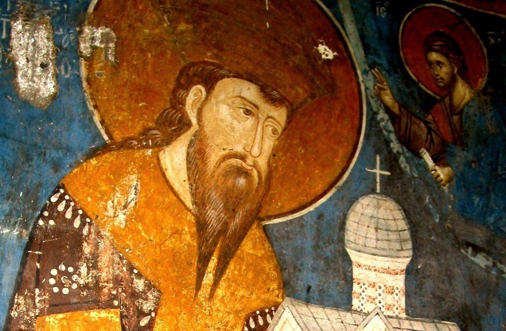 Святой Великомученик Стефан Урош III Дечанский, Король Сербский. Фреска монастыря Высокие Дечаны, Косово, Сербия. Около 1350 года.