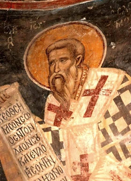 Святитель Иоанн Милостивый. Фреска церкви Святого Николая в монастыре Куртя де Арджеш, Румыния. XIV век.
