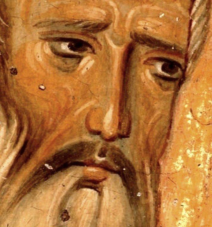 Святитель Иоанн Милостивый. Фреска церкви Богородицы в монастыре Студеница, Сербия. 1208 - 1209 годы.