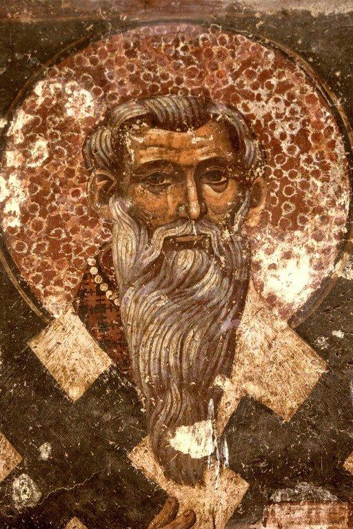 Святитель Иоанн Милостивый. Фреска Петровой церкви, Стари Рас, Сербия.