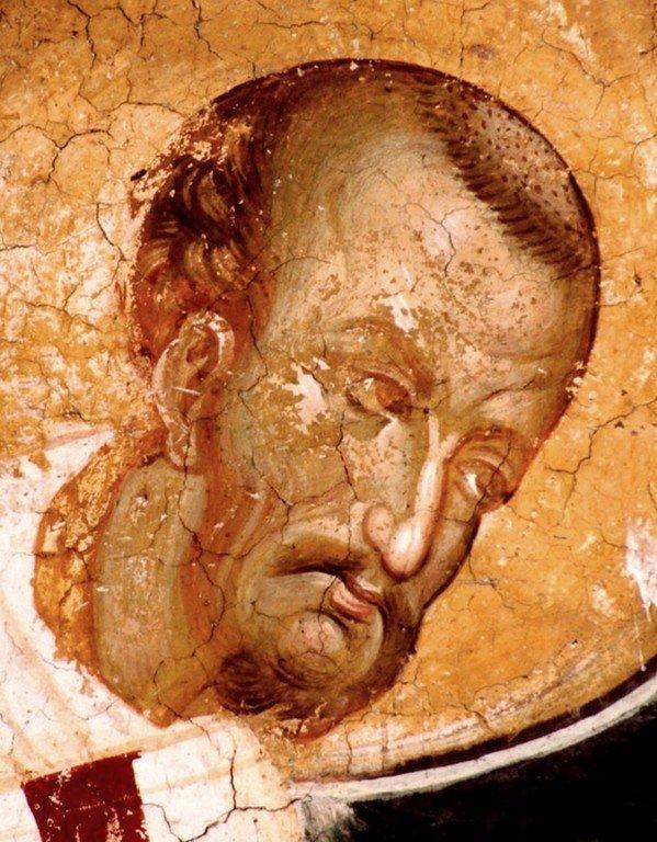Святитель Иоанн Златоуст. Фреска монастыря Высокие Дечаны, Косово, Сербия. Около 1350 года.